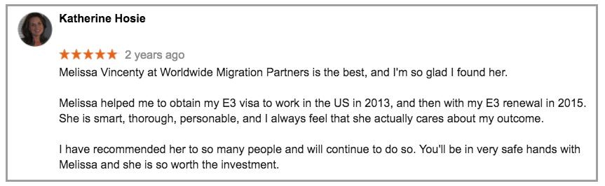 Visa Assistance Testimonial for Worldwide Migration Partners