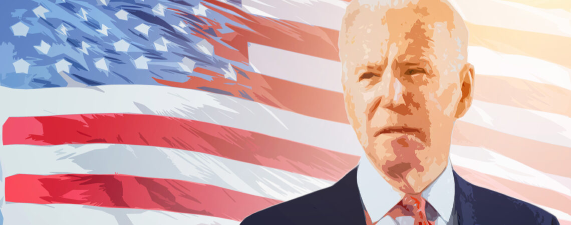 Artistic impression of president elect Joe Biden infront of the US flag