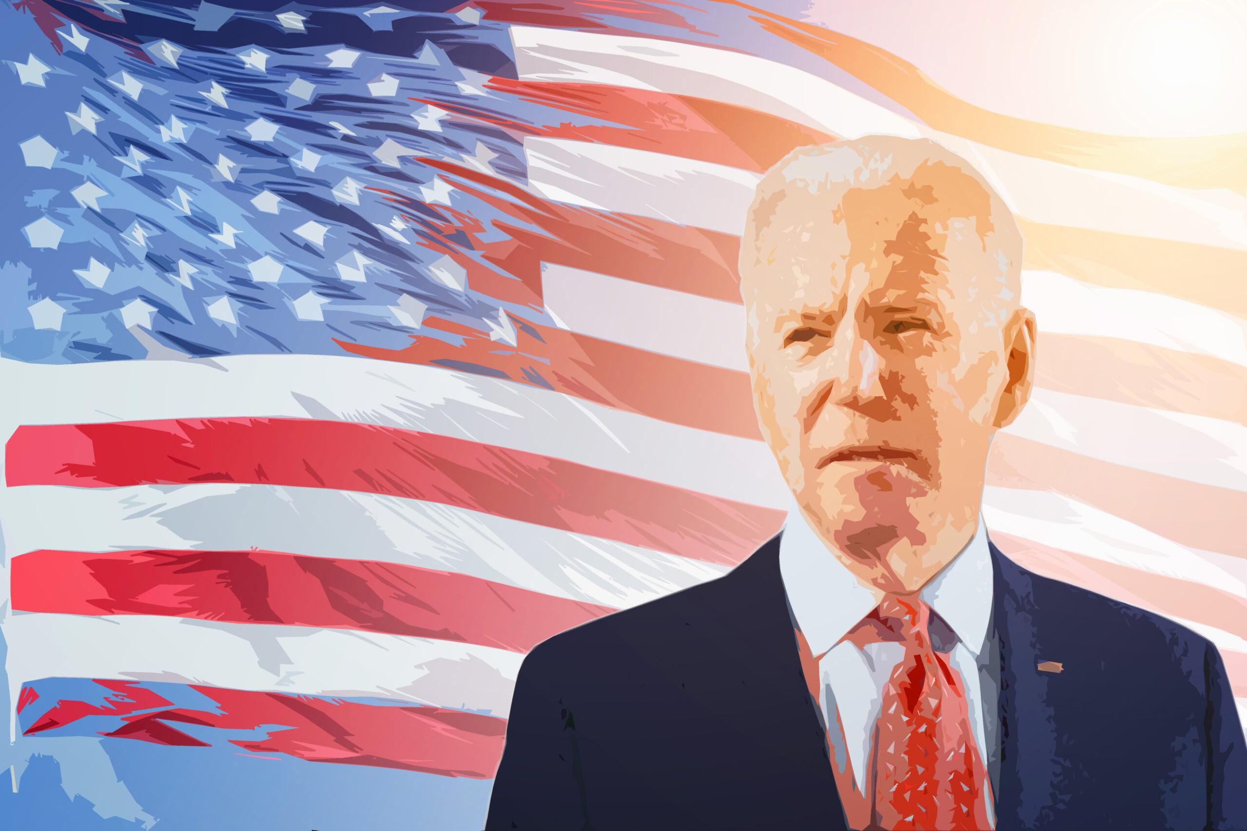 Artistic impression of president elect Joe Biden infront of the US flag